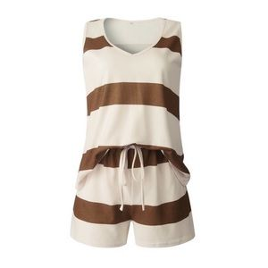 Brown Striped Tank and Short Set
